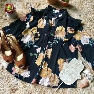{Monteau} Floral Print Black Tie Neck Blouse, S